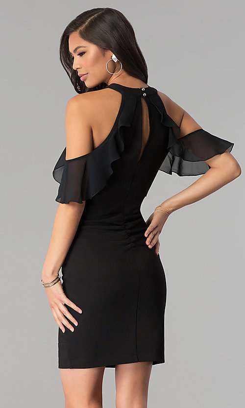 Image of short little black party dress with cold shoulder. Style: EM-FOT-1027-001 Back Image