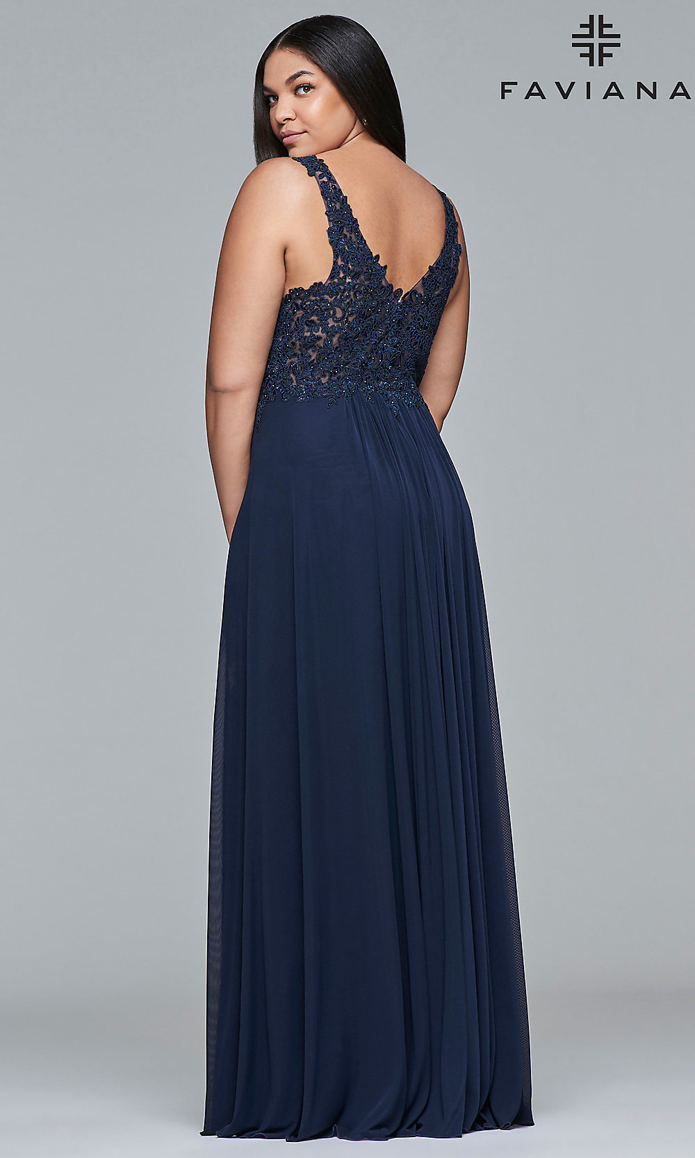 ab6a41b25a1 ... Faviana plus-size embroidered prom dress. Style  FA-9428. Tap to expand