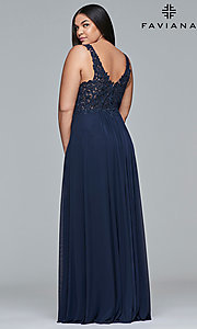 Image of long Faviana plus-size embroidered prom dress. Style: FA-9428 Back Image