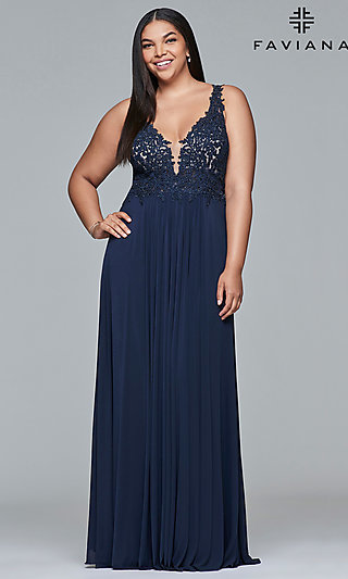 Long Faviana Plus-Size Embroidered Prom Dress