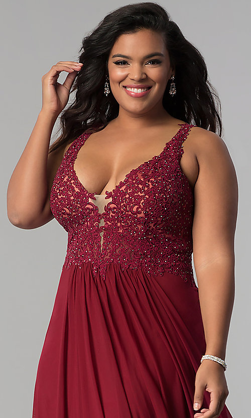 Image of long Faviana plus-size embroidered prom dress. Style: FA-9428 Detail Image 3