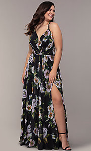 Image of long plus-size v-neck print prom dress. Style: FA-9431 Front Image