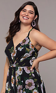 Image of long plus-size v-neck print prom dress. Style: FA-9431 Detail Image 3