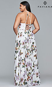 Image of long plus-size v-neck print prom dress. Style: FA-9431 Detail Image 8