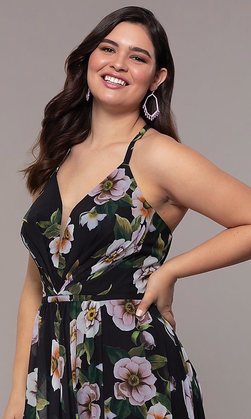 Image of long plus-size v-neck print prom dress. Style: FA-9431 Detail Image 1