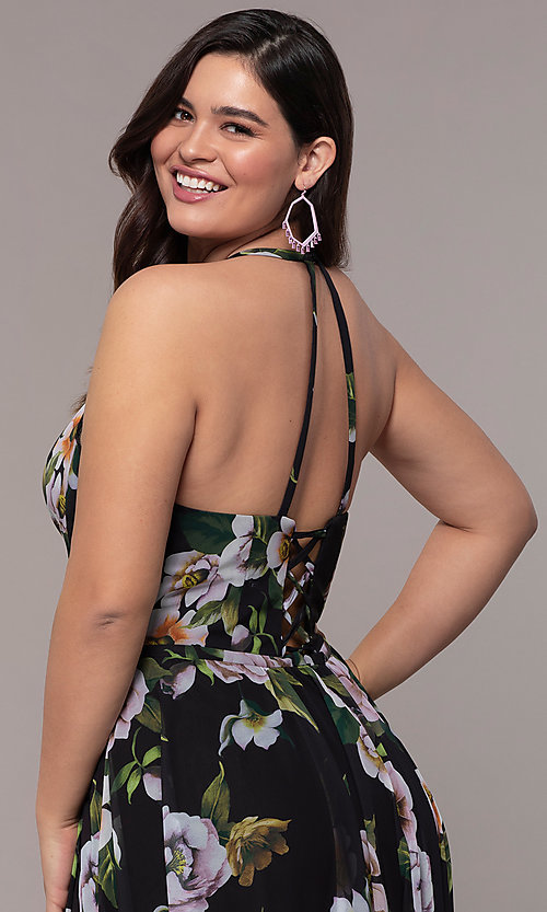 Image of long plus-size v-neck print prom dress. Style: FA-9431 Detail Image 2
