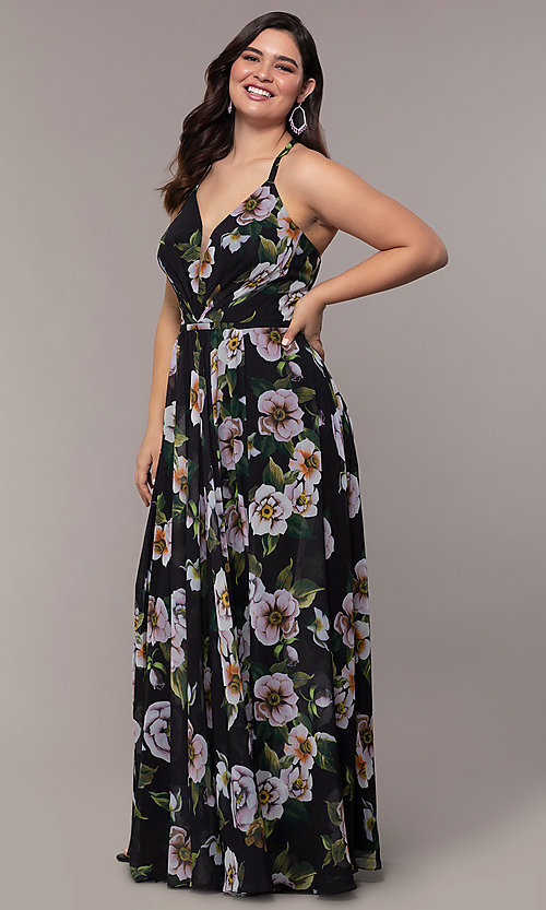 Image of long plus-size v-neck print prom dress. Style: FA-9431 Detail Image 5