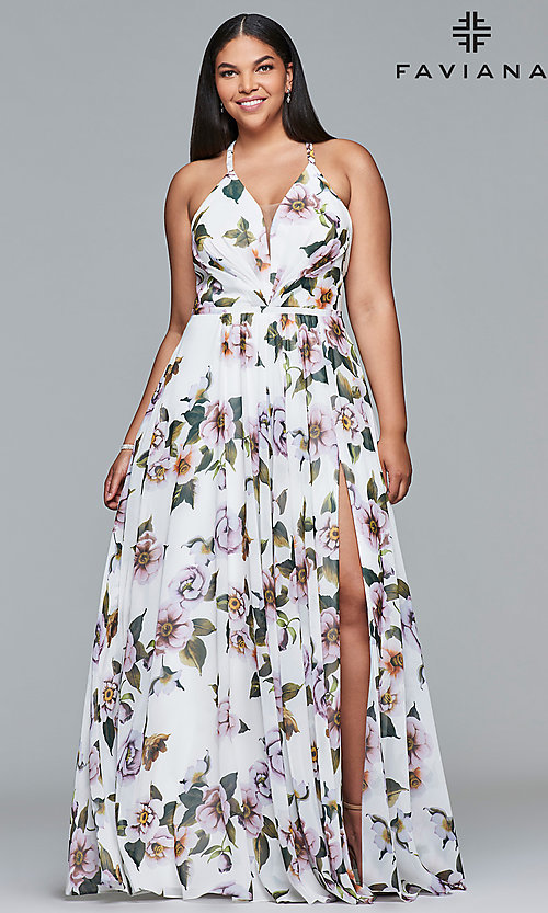 Image of long plus-size v-neck print prom dress. Style: FA-9431 Detail Image 7
