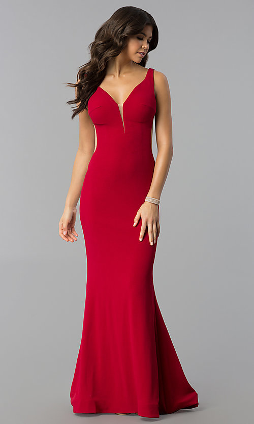 Image of long mermaid v-neck designer prom dress by Blush. Style: BL-PG3146 Front Image