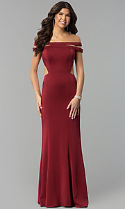 Image of long off-the-shoulder red dress for prom with train.  Style: BL-PG3157 Front Image