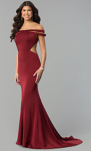 Image of long off-the-shoulder red dress for prom with train.  Style: BL-PG3157 Detail Image 3