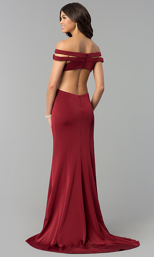 Image of long off-the-shoulder red dress for prom with train.  Style: BL-PG3157 Back Image