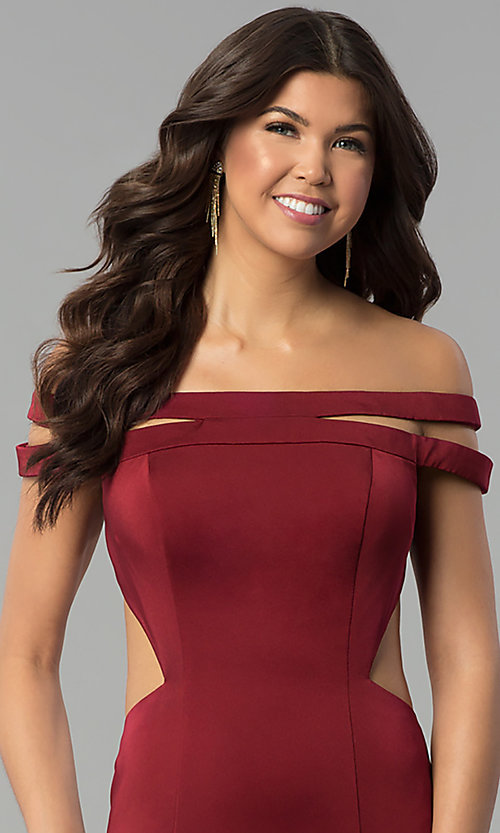 Image of long off-the-shoulder red dress for prom with train.  Style: BL-PG3157 Detail Image 1