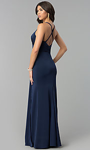Image of mock-wrap long v-neck prom dress. Style: BL-PG3167 Back Image