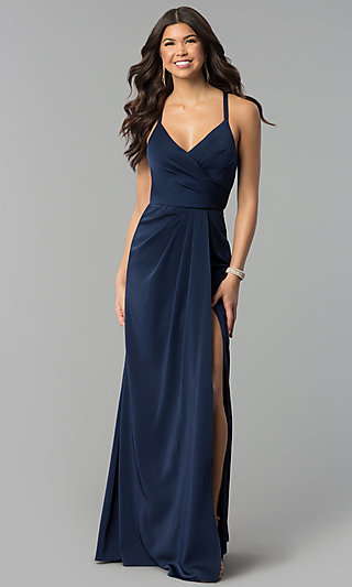 Mock-Wrap Long V-Neck Prom Dress