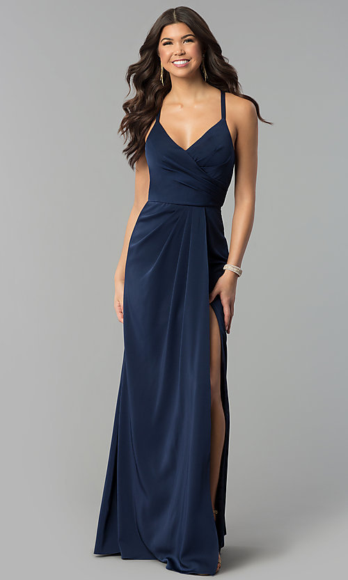 5e6cc51dcaf Image of mock-wrap long v-neck prom dress. Style  BL-
