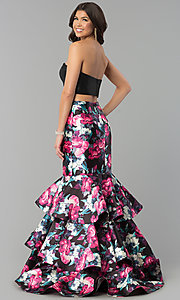 Image of two-piece multi-print-skirt long black prom dress. Style: BL-PG3175 Back Image