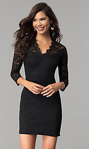 Image of short v-neck lace party dress with 3/4 sleeves. Style: AS-A66334B76 Detail Image 2