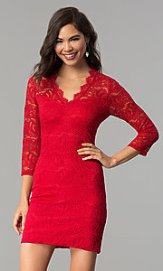 Image of short v-neck lace party dress with 3/4 sleeves. Style: AS-A66334B76 Front Image