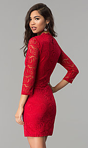 Image of short v-neck lace party dress with 3/4 sleeves. Style: AS-A66334B76 Back Image
