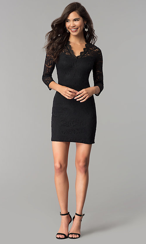 Image of short v-neck lace party dress with 3/4 sleeves. Style: AS-A66334B76 Detail Image 3
