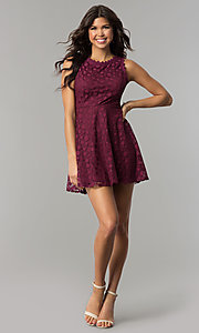 Image of plum purple short a-line party dress. Style: AS-A7016383 Detail Image 2