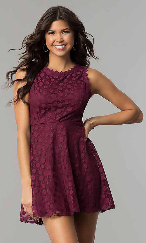Image of plum purple short a-line party dress. Style: AS-A7016383 Front Image