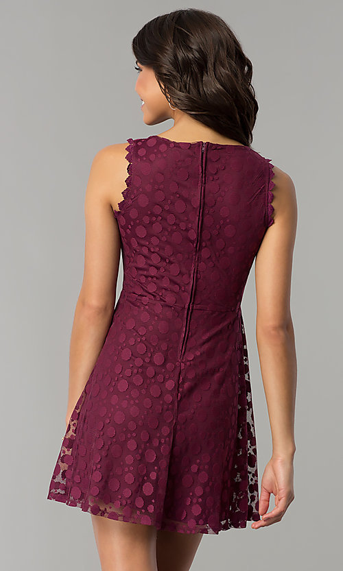 Image of plum purple short a-line party dress. Style: AS-A7016383 Back Image