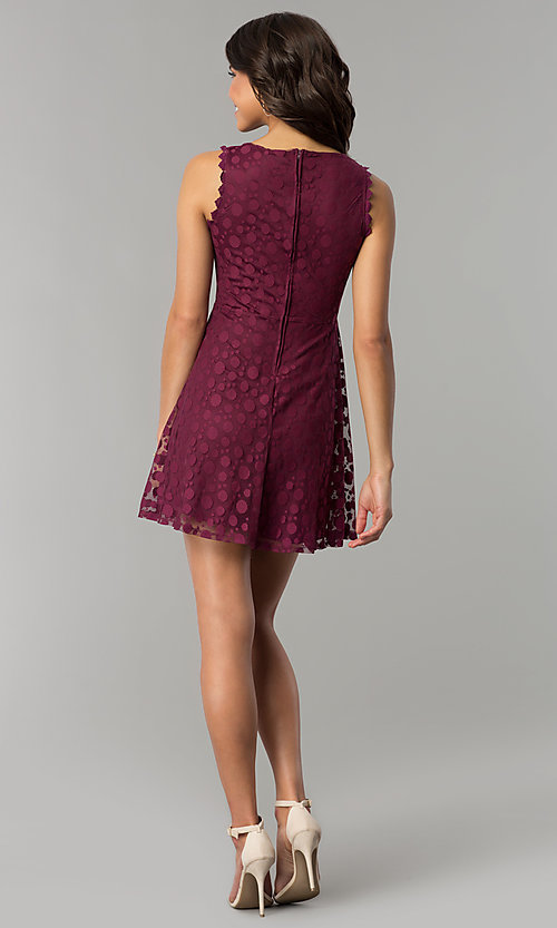 Image of plum purple short a-line party dress. Style: AS-A7016383 Detail Image 3
