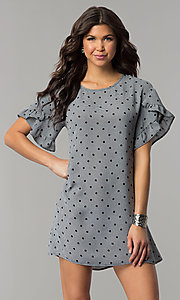 Image of short shift casual grey dress with black polka dots.  Style: AS-A855179E34 Front Image