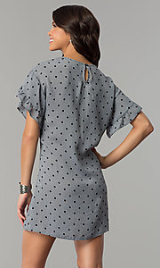 Image of short shift casual grey dress with black polka dots.  Style: AS-A855179E34 Back Image