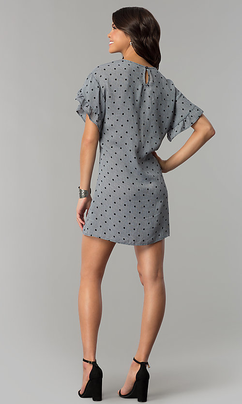 Image of short shift casual grey dress with black polka dots.  Style: AS-A855179E34 Detail Image 3