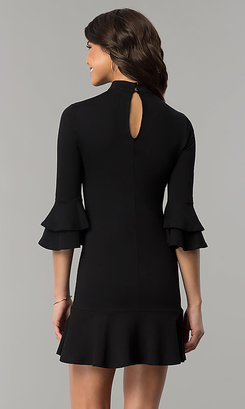 Image of short black mock-neck party dress with bell sleeves. Style: AS-L3631DB13 Back Image