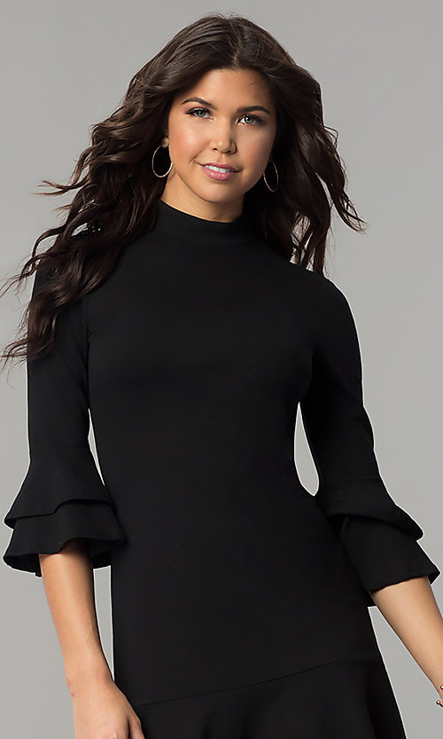 Image of short black mock-neck party dress with bell sleeves. Style: AS-L3631DB13 Detail Image 1