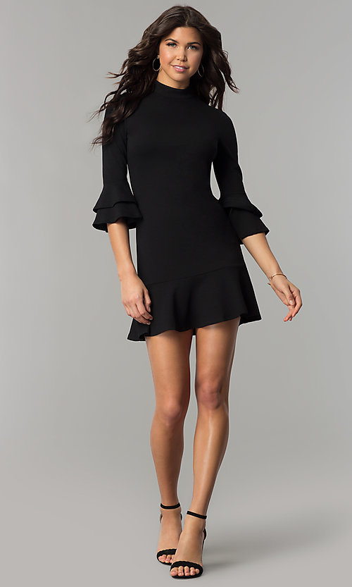 Image of short black mock-neck party dress with bell sleeves. Style: AS-L3631DB13 Detail Image 2