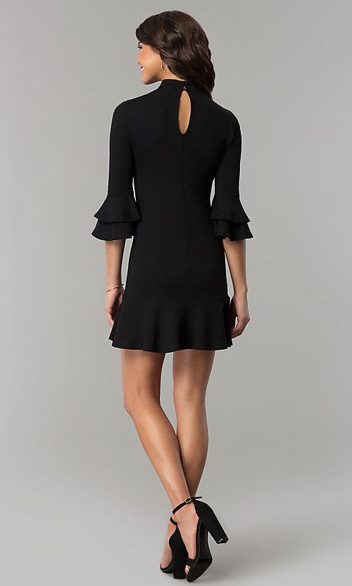 Image of short black mock-neck party dress with bell sleeves. Style: AS-L3631DB13 Detail Image 3