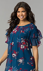 Image of casual short shift party dress with flutter sleeves. Style: AS-A839895b86 Detail Image 1