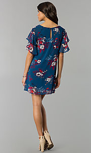 Image of casual short shift party dress with flutter sleeves. Style: AS-A839895b86 Detail Image 3