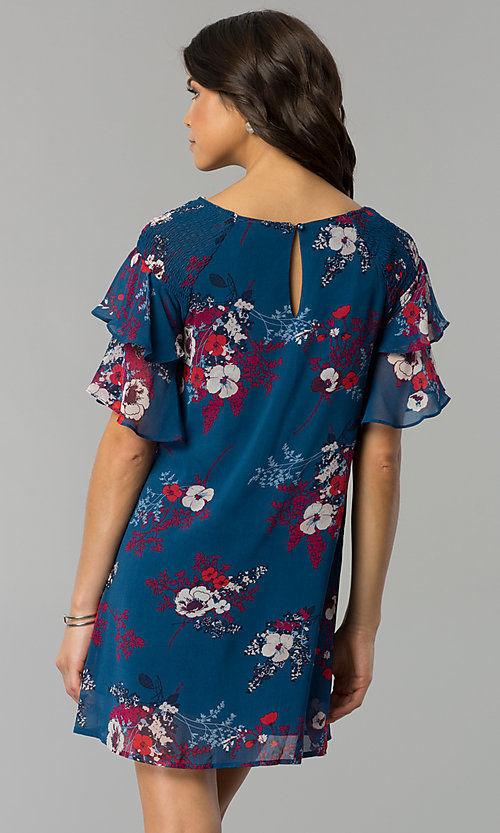 Image of casual short shift party dress with flutter sleeves. Style: AS-A839895b86 Back Image