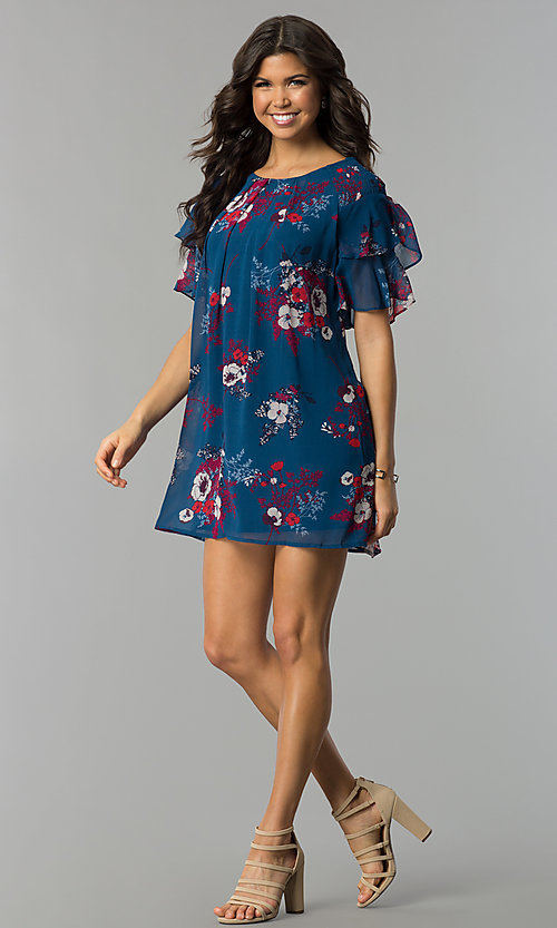 Image of casual short shift party dress with flutter sleeves. Style: AS-A839895b86 Detail Image 2