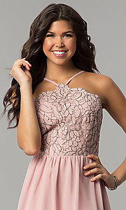 Image of mauve pink lace-accented party dress by As U Wish. Style: AS-A6565F337 Detail Image 1