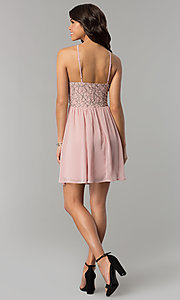 Image of mauve pink lace-accented party dress by As U Wish. Style: AS-A6565F337 Detail Image 3