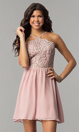 Mauve Pink Lace-Accented Party Dress by As U Wish