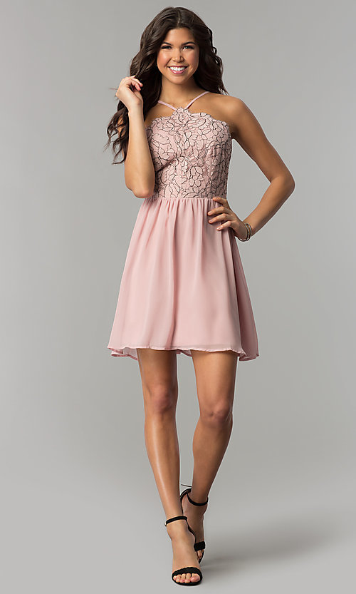 Image of mauve pink lace-accented party dress by As U Wish. Style: AS-A6565F337 Detail Image 2