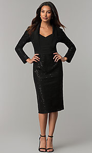 Image of black knee-length sequin party dress with sleeves. Style: IT-111167 Detail Image 2