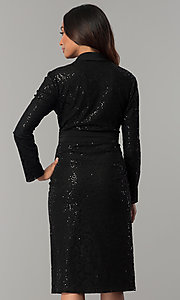 Image of black knee-length sequin party dress with sleeves. Style: IT-111167 Back Image