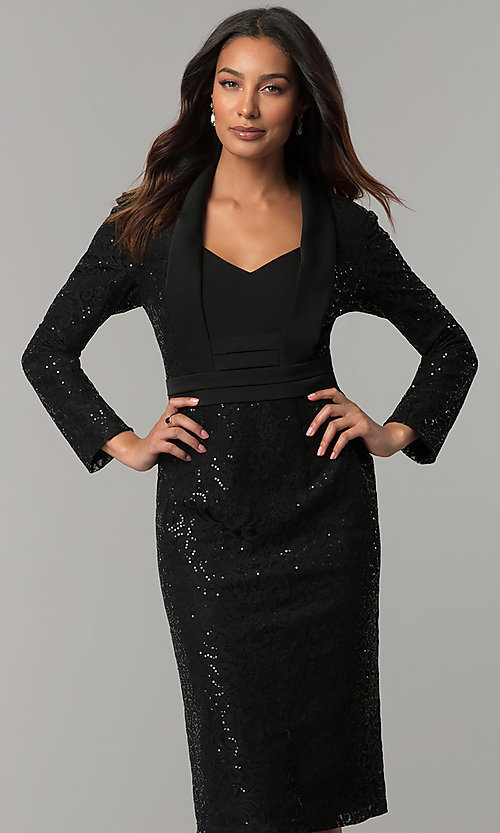 Image of black knee-length sequin party dress with sleeves. Style: IT-111167 Front Image