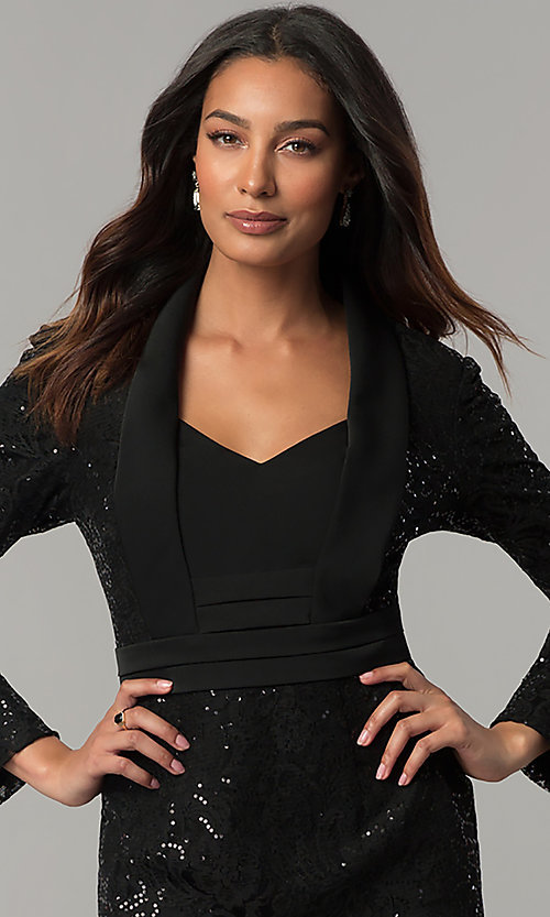 Image of black knee-length sequin party dress with sleeves. Style: IT-111167 Detail Image 1