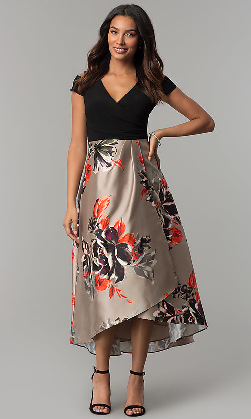 Image of print faux-wrap high-low v-neck party dress. Style: IT-117976 Front Image