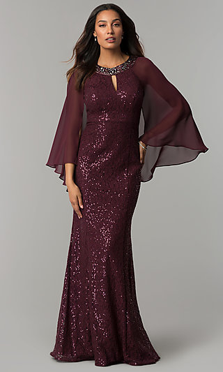 Long Sequin Lace MOB Dress with Attached Caplet